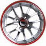 Yuki 405  5.5*13  4*100 ET35 73.1 Gunmetal machine face wiht red ring(2GM4-RR)