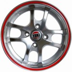 Yuki 406  5.5*13  4*98 ET35 58.6 Gunmetal machine face wiht red ring(2GM4-RR)
